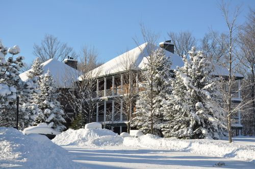 Beautiful winter view of The Legend Cottage Inn